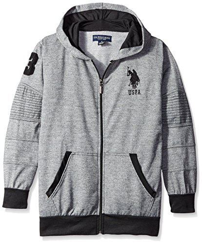- U.S. Polo Assn. Big Boys' Grindle French Terry Hoodie, Black, 14/16