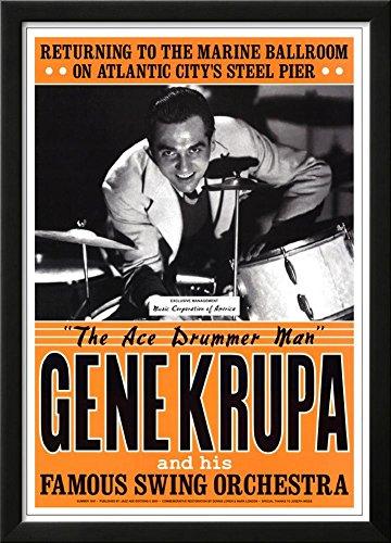Gene Krupa JAZZ POSTER RARE Atlantic City swing drummer Lamina Framed Poster - 25.75 x 18.75in (Gene Swing)