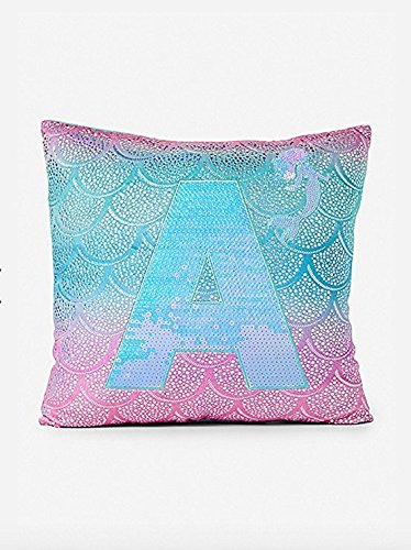 Justice Girls Shimmer Mermaid Pillow Letter Initial T