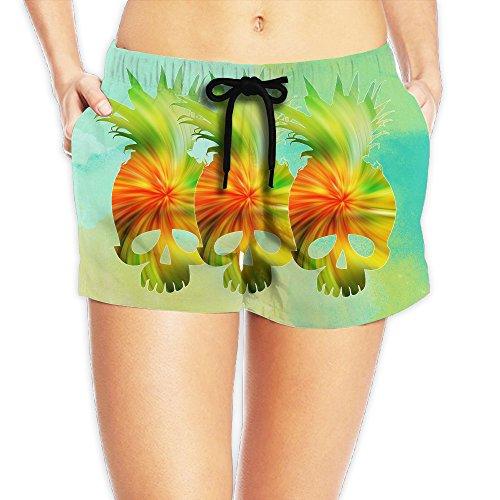 Cool Psychedelic Pineapple Skull Women's Board Shorts Beach Shorts Summer Swim L by Water-fan