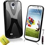 AOA Cases® Tpu Gel Case Back Cover For Samsung Galaxy S4 Gt-I9500 Gt-I9505 + Stylus + Screen Protector (X-Series-Black)