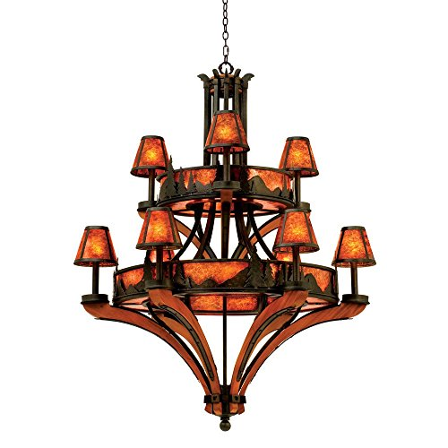 Kalco 5812NI, Aspen Mica 2 Tier Chandelier Lighting with Shades, 18 Light, 585 Total Watts, Iron