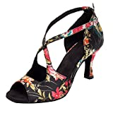 HXYOO Indoor Ballroom Dance Shoes Women for Salsa Latin Tango Floral Satin Approximately 7.5 cm Heel (5 UK, Black)
