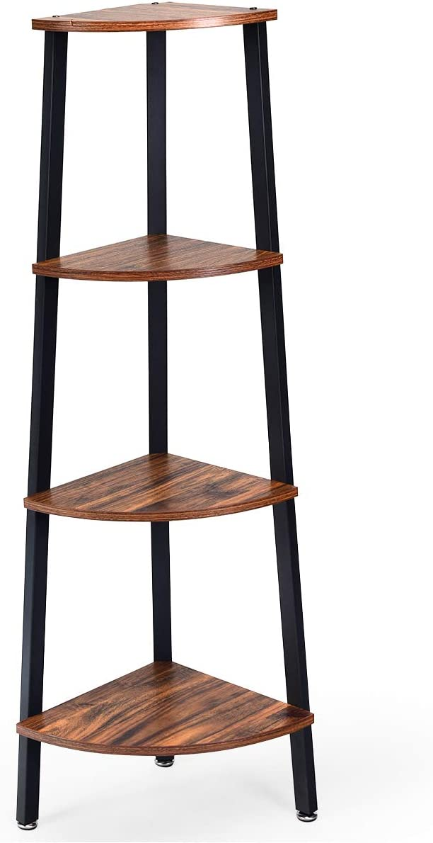 Giantex 4-Tier Corner Shelf Industrial Multipurpose Bookcase, Home or Office Storage Rack, Wood Plant Stand with Metal Frame (Rustic Brown)