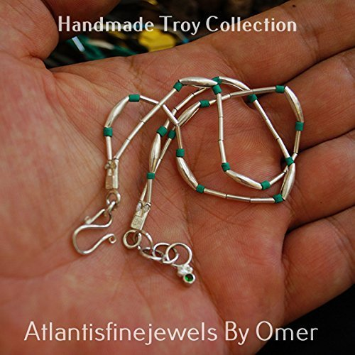 2 Strand Troy Malachite Bead Bracelet 24 k Gold over 925 Fine Silver Handmade Turkish Jewelry (Turkish Silver Bead)