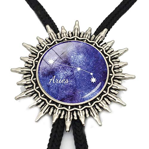 JIA-WALK Glass Cabochon Zodiac Signs Bolo Tie Aries Leo Constellations Bolo Tie Virgo Pisces Neck Tie,T1 from JIA-WALK