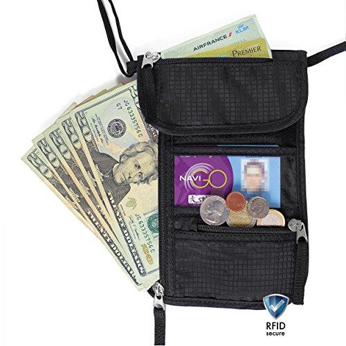 Borsello da viaggio e porta passaporto (scherma RFID) di Walden. Portadocumenti da collo, nero e resistente con 5 tasche (incl. per cellulare) e copertura in nylon. Ideale per uomini, donne, bambini.