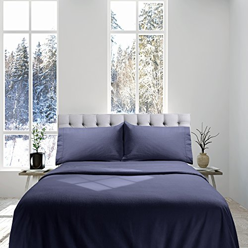 Genteele 100% Cotton Flannel Sheet Set - Luxurious Heavyweight - Ultra Soft Premium Velvety Quality 4 Piece Set - King, Navy
