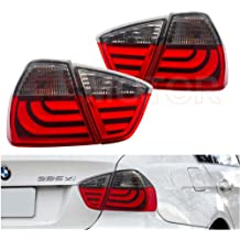 BMW E90 3 Series Sedan Streak Style LED Brake Tail Lights Lamps (Red Smoke)