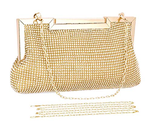 Selighting Women's Rhinestones Crystal Evening Bags Clutches Formal Wedding Clutch Purse Prom Cocktail Party Handbags (One Size, Gold)