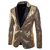 Toimothcn Charm Men's Sequin Casual One Button Fit Suit Blazer Coat Jacket Party(Gold,XXL)