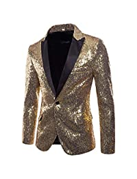 Beautyfine Charm One Button Fit Suit Blazer Coat Men's Casual Jacket Sequin Party Top