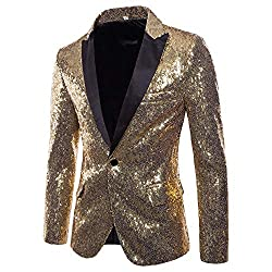 Men's Shiny Sequins Suit One Button Jacket