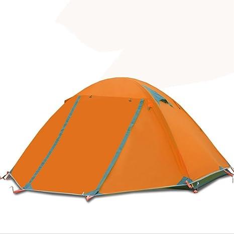 Tienda de campaña para 2 personas, 4 estaciones, doble piel de aluminio, para camping, impermeable, resistente al viento, para nieve, naranja: Amazon.es: Deportes y aire libre