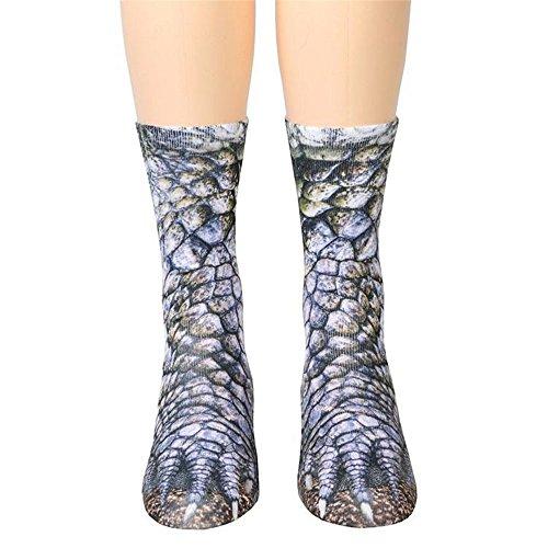 Unisex Funky Socks Hosamtel Animal Paw 3D Printing Sublimated All Over Crew Socks for Man Women Girl Boy (Dinosaur) - Sweater Vest Knit Pattern