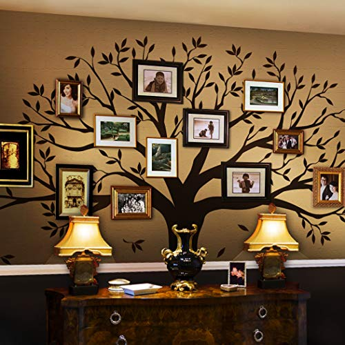 Simple Shapes Family Tree Wall Decal (Chestnut Brown, Small Size : 95