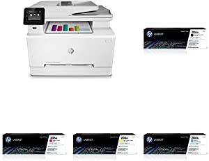 HP Color LaserJet Pro M283fdw Wireless All-in-One Laser Printer, Remote Mobile Print, Scan & Copy, Duplex Printing (7KW75A) with -Toner -Cartridges - 4 Colors