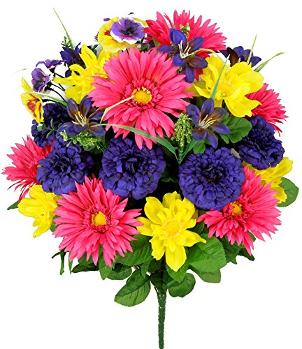 Admired By Nature GPB3316-YW/BT/Pur 24 Stems Blooming Gerbera Daisy, Yellow/Velvet/Purple, (Gerbera Daisy Bush)