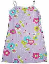 Mulberribush - Slightly Irregular Little Girls Floral Knit Tank Dress, Lavender, Multi 12878-4T