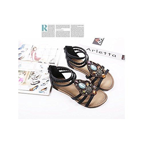Granos de la flor de las mujeres del verano de Bohemia de los zapatos flip-flop sandalias planas Negro