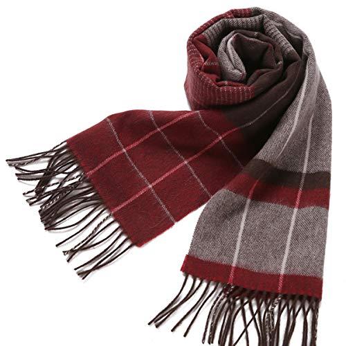 Erigaray 100% Wool Mens Scarf Plaid Winter Warm Fashion knit Scarfs For Men - Winter Wool Scarf