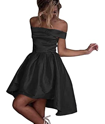 1b26e85892c1 Dressylady Off-Shoulder High Low Prom Party Homecoming Dress Black 2