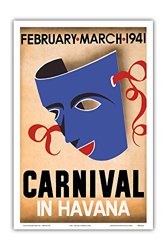 Pacifica Island Art Cuba - Carnival in Havana - February, March 1941 Cuban version 3886 - Vintage Carnival Poster c.1941 - Master Art Print - 12in x 18in