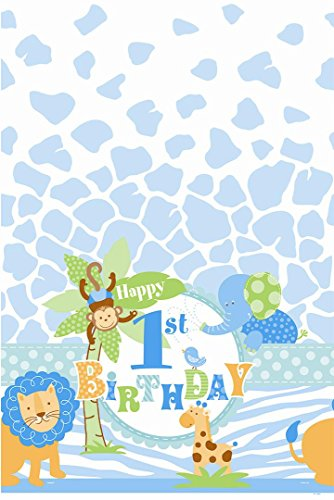 Blue Safari First Birthday Plastic Tablecloth, 84