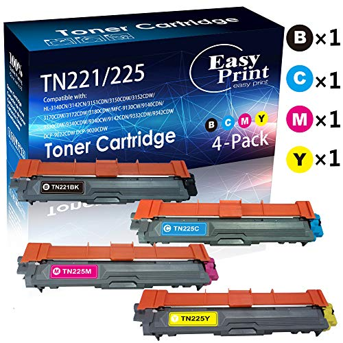 Compatible TN221 TN225 TN221/225 Toner Cartridge 4-Pack (BK+C+M+Y) for Used in Brother HL-3140CW, 3142CN, 3151CDN, 3150CDW, 3152CDW, 3170CDW, 3172CDW, 3180CDW Printer, Sold by EasyPrint (C M Tn221 Bk Y)
