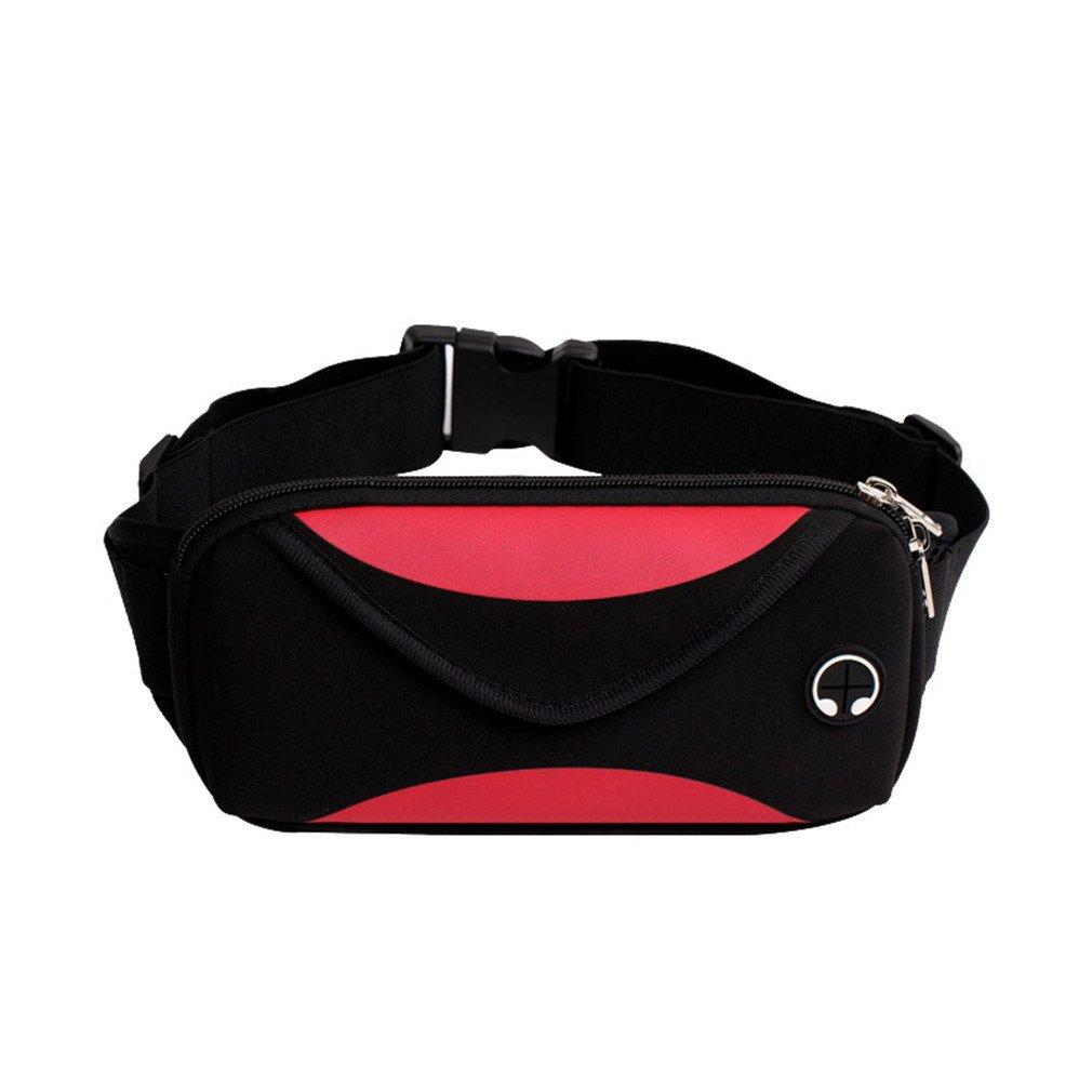 BAGGY Fashion Unisex Waterproof Fanny Pack Belt Patchwork Sport Waist Bag Red