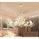 LYMXXL White Vintage Style Resin Antler Chandelier 6+3 head,9+3 head,9+6 head,9+9 head,Living room,Bar,Cafe, Dining room, Bedroom,Study,Villas,Europe Retro Deer Horn Pendant Lights (9+9 heads)