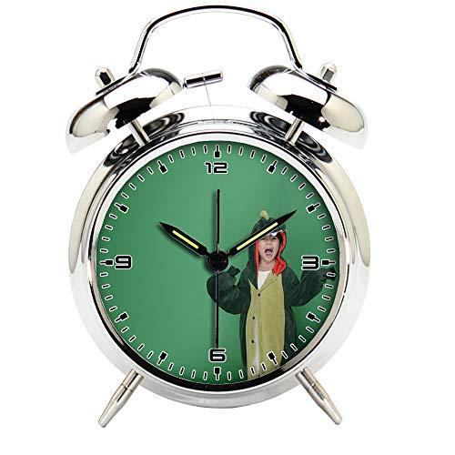 Children's Room Silver Dinosaur Silent Alarm Clock Twin Bell Mute Alarm Clock Quartz Analog Retro Bedside and Desk Clock with Nightlight-703.814_Dinosaur, Green, Cute, Military Cap, Army Backpack - Military Analog Quartz Timepiece