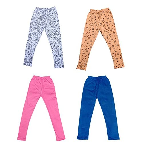 Pack Of 4 Indistar Girls 2 Cotton Solid Legging Pants and 2 Cotton Printed Legging Pants /_Multicolor/_Size-9-10 Years/_71406071619-IW-P4-32