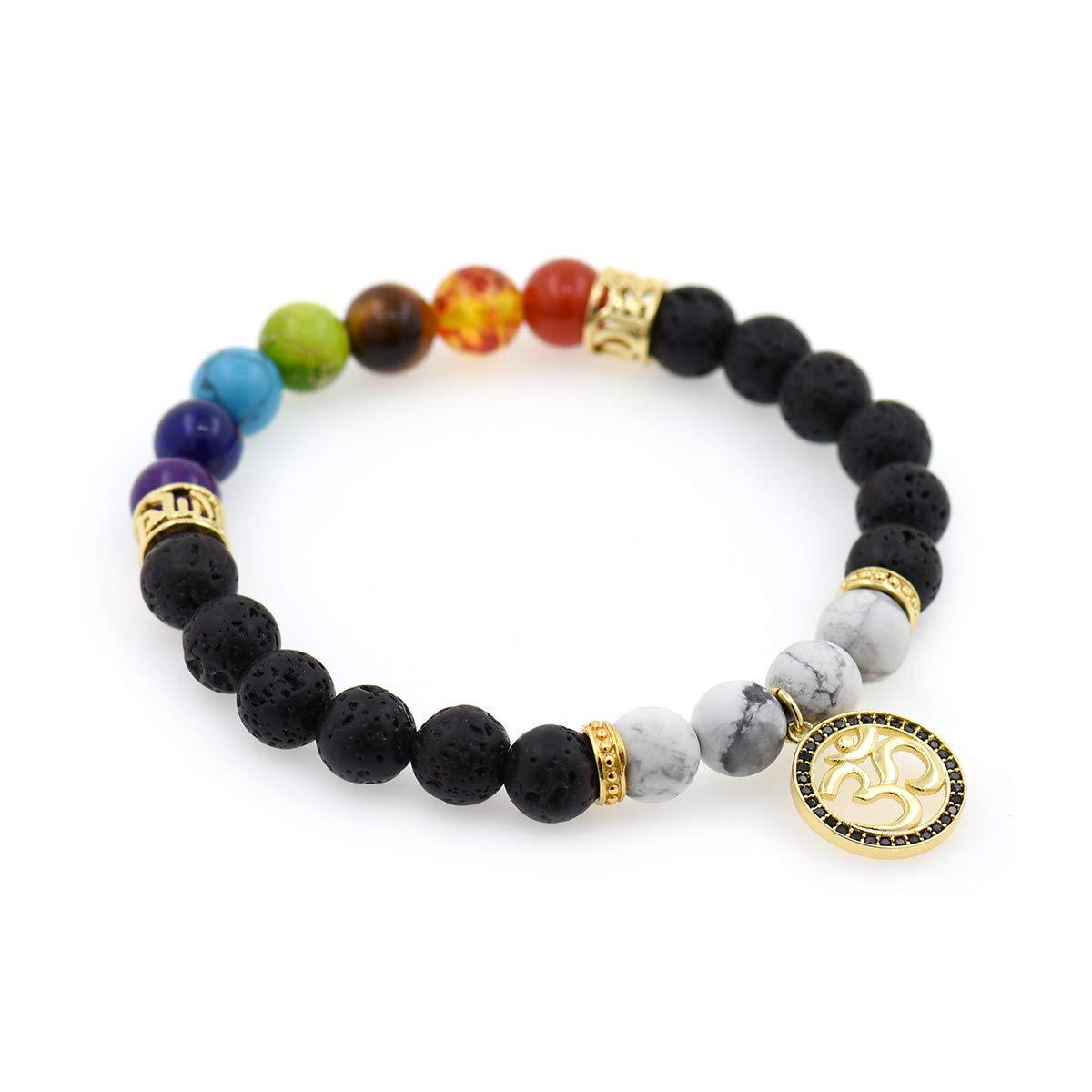 7 Chakra Meditation Bracelet,8mm Healing Lava Rock Gemstone OM/Yoga Bracelet Charm Gift Men Women