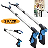 Foldable Extender Gripper Tool 32'', 2 Packs, Upgraded Version Reacher Grabber Pick up Tool Long Arm Reaching Claw (2 Pcs) (2 Packs Blue)