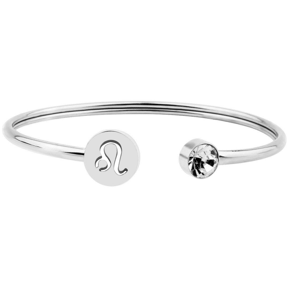 Zuo Bao Simple Zodiac Sign Cuff Bracelet with Birthstone Birthday Gift for Women Girls (Leo)
