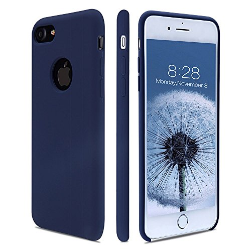 Solid Silicone Blue Skin (iPhone 7 case, FGA Solid Silicone Gel Rubber Skin Feeling Slim-Fit Anti-scratch Shockproof Drop Protection Case with Soft Microfiber Cloth Lining Cushion for Apple iPhone 7(2016) (Dark Blue))