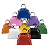 School Cowbells - Set Of 12 Metal Cowbell Noisemakers (Select A Color) (Assorted)