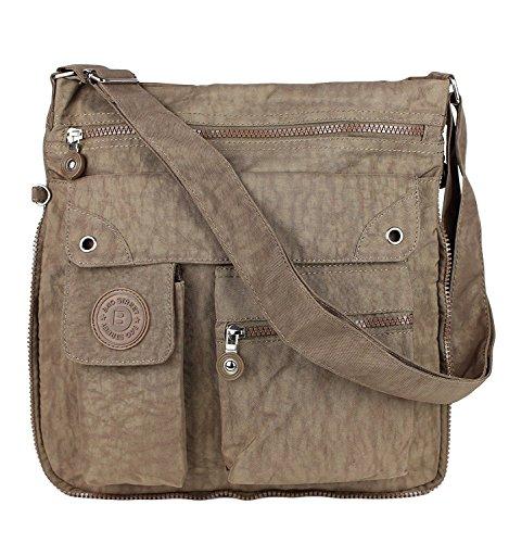 Bag Street Unisex funda nylon hombro bolso de Cross Body Bag Beige marrón