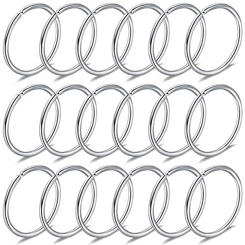 (Yaalozei 18PCS 22G Stainless Steel Clip on Fake Nose Lip Helix Cartilage Tragus Ear Hoop Hook Earring Septum Ring Piercing Jewelry for Men Women 8mm Silver)