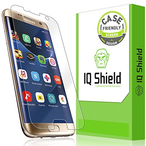 IQ Shield Screen Protector Compatible with Samsung Galaxy S7 Edge (Case Friendly)(Updated Design) LiquidSkin Anti-Bubble Clear Film