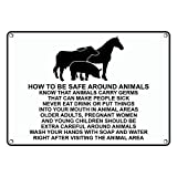 Weatherproof Plastic How To Be Safe Around Animals Germs Sign with English Text and Symbol