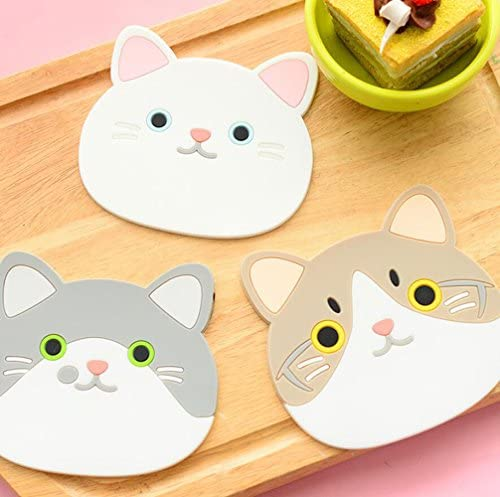 Honbay 5PCS Cute Colorful Animal Silicone Rubber Coasters Cup Mats