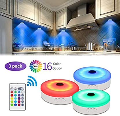 Multi Color 4 Bason RGB Under Cabinet Lighting Remote Control LED Puck Lights