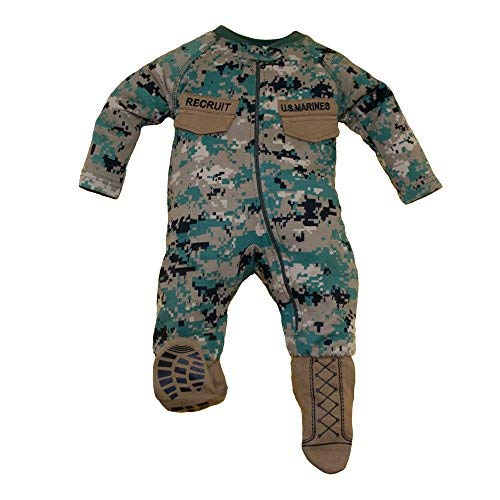 (TC U.S.M.C. Baby Boys Woodland Camo Crawler With Recruit Boots (6-9)