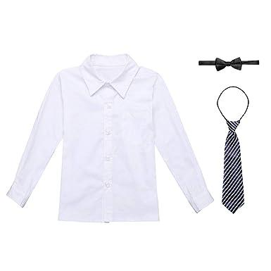 d2c73ec003bde Alvivi Chemise Blanche pour Enfants/garçons avec Cravate Shirt à Manche  Longue Uniforme Scolaire Haut