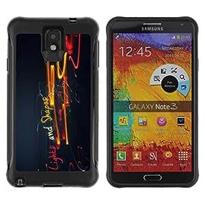 Planetar® ( Lights And Shapes ) Samsung Galaxy Note 3 III / N9000 / N9005 Hybrid Heavy Duty Shockproof TPU Fundas Cover Cubre Case