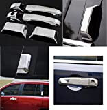 Nicebee 1 set ABS Chrome Side Auto Door Handle Covers Cap Trim Kit for Jeep Compass 2007 2008 2009 2010 2011 2012 2013 2014 Auto Accessories with Jeep Logo