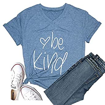 Hellopopgo Be Kind Women Casual Short Sleeve Summer Soft T-Shirt Blouse Tee Tops (S, Blue)