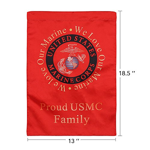 United States Marine Corps Decorative Vertical Garden Flag and Yard Banner - Double Sided Printed 13'' x 18.5'' - We Love Our Marine, Proud USMC Family by Rainmon (Image #1)